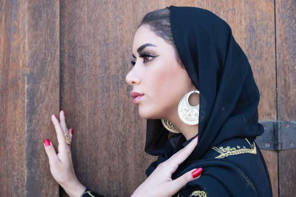 women s black hijab veil