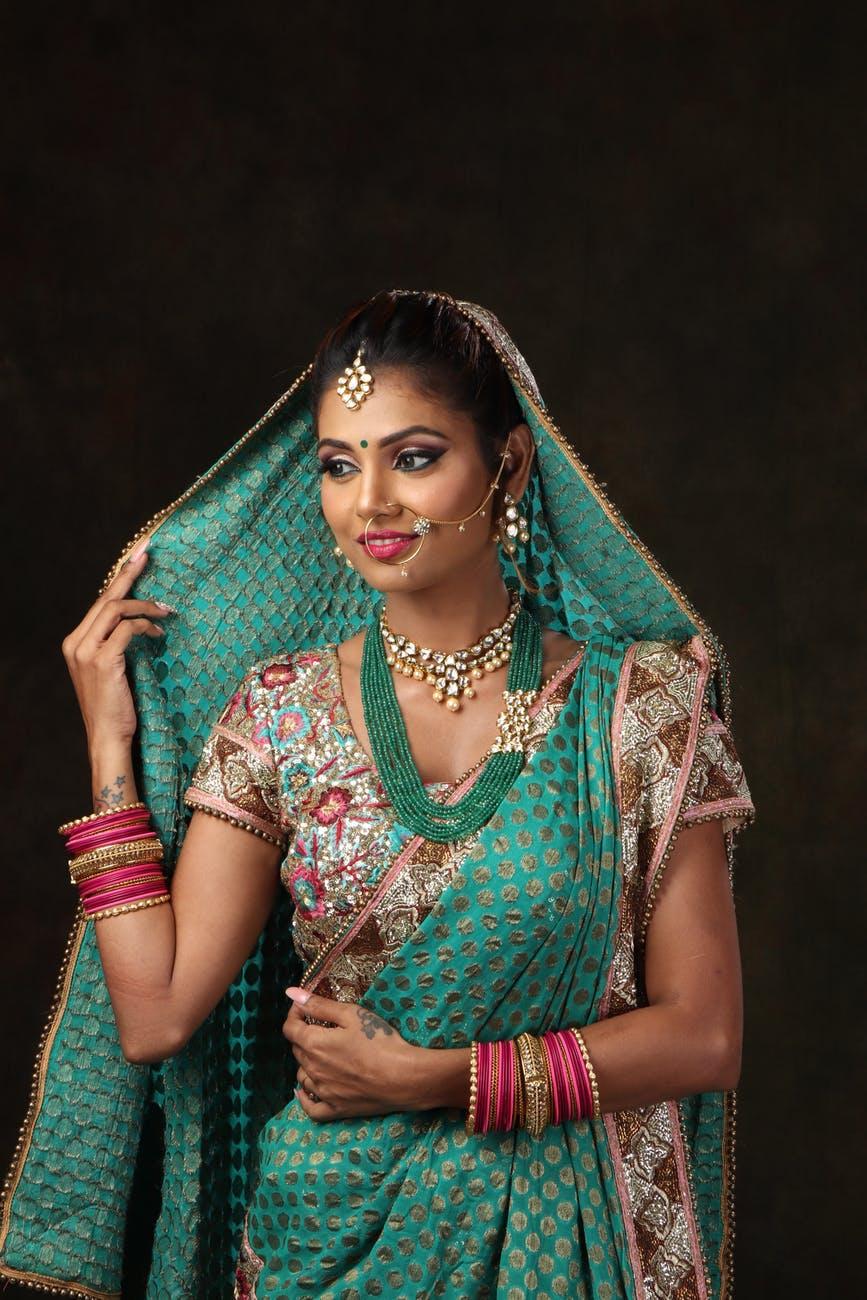 woman in sari dress