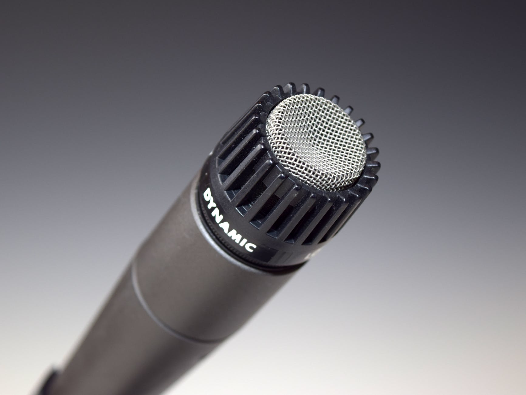 silver and black dynamic metal microphone