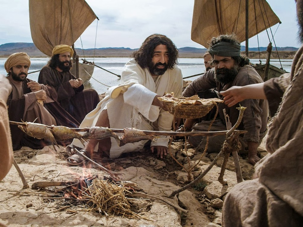 Jesus makes breakfast in Galilee photo from Bible fun for kids